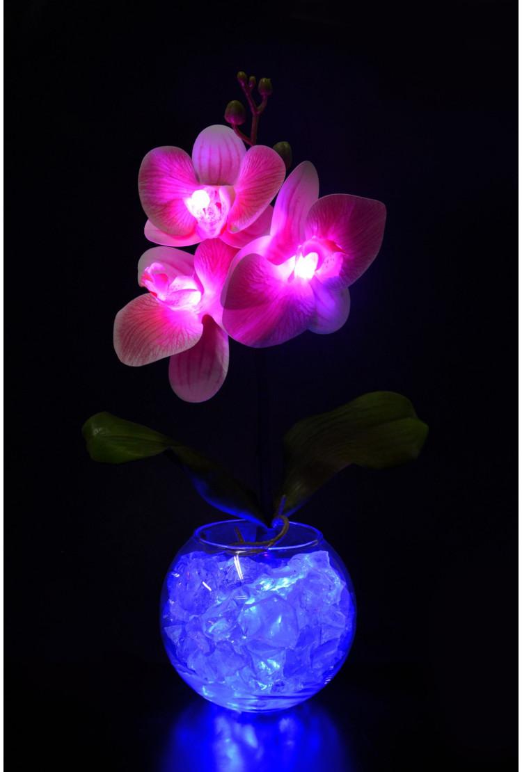 Ночник Орхидея розовый(син) 3 цветка