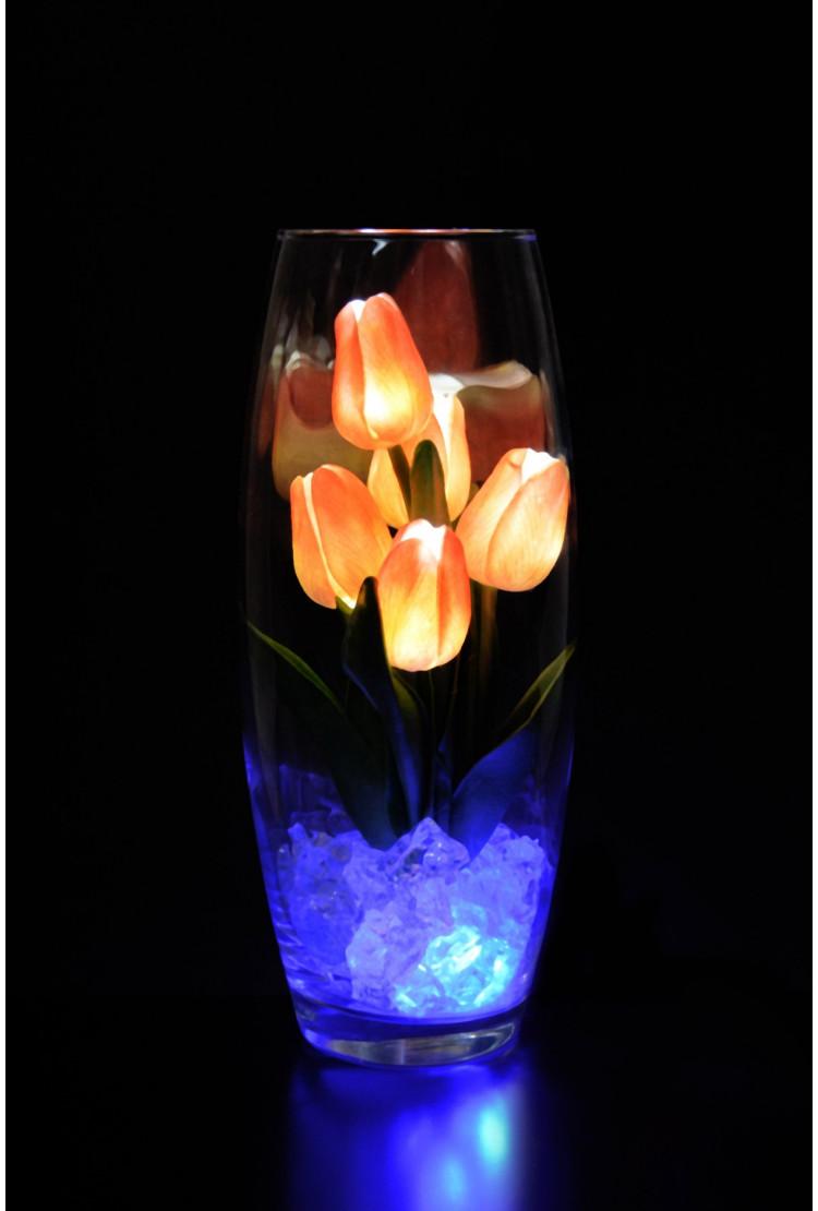 Светодиодные тюльпаны 5шт Оранжевые(син)