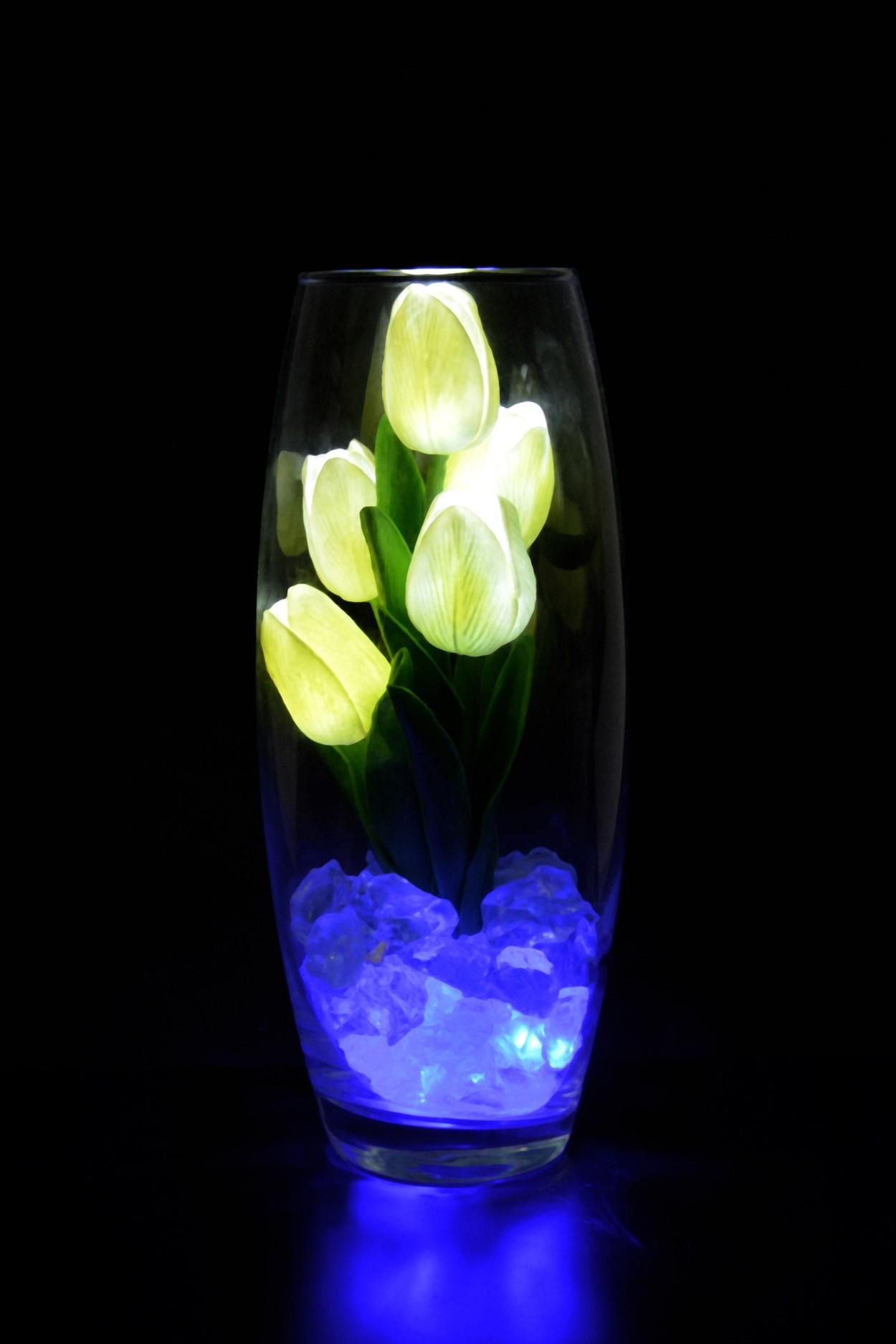 Светодиодные тюльпаны 5шт Белые(син)