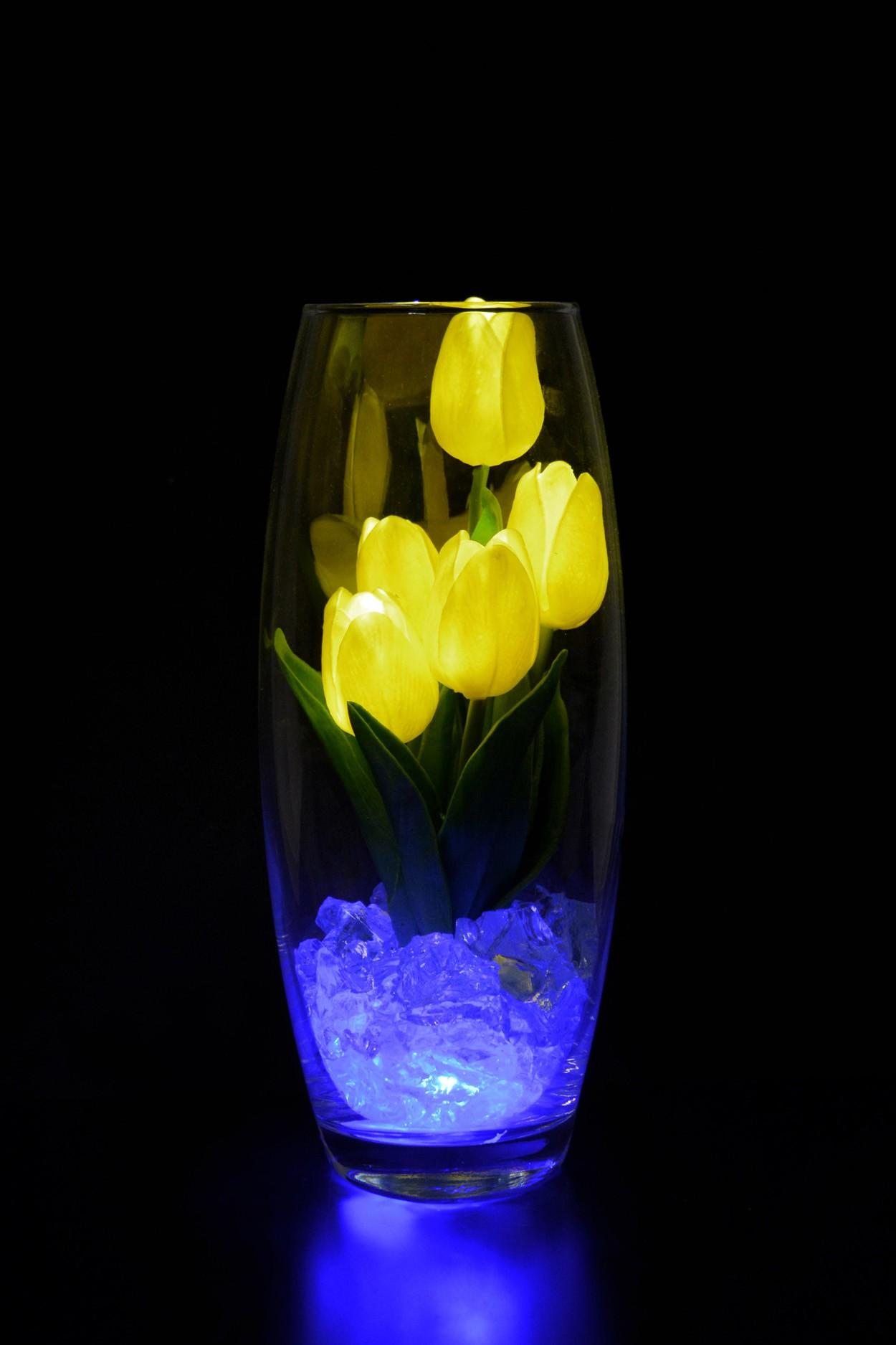 Светодиодные тюльпаны 5шт Жёлтые(син)