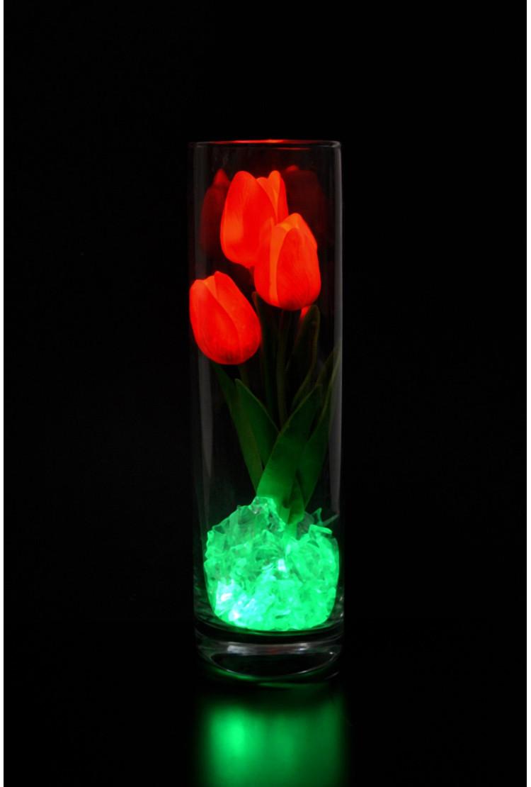 Светодиодные тюльпаны 3шт Красные(зел)