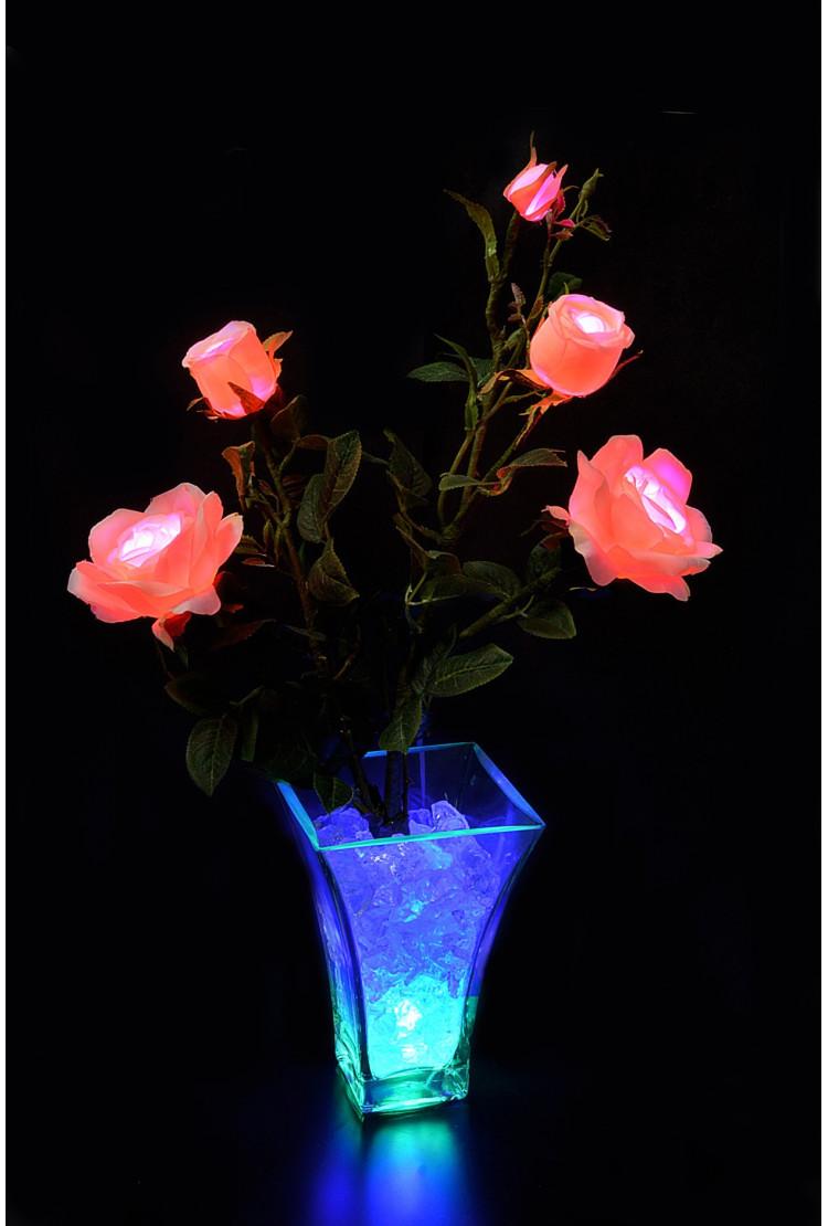 Светодиодные цветы Розы Розовые (син) 5 цветка