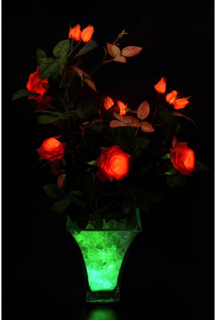 Светодиодные цветы Розовый куст Жёлтые (син) 5 цветка