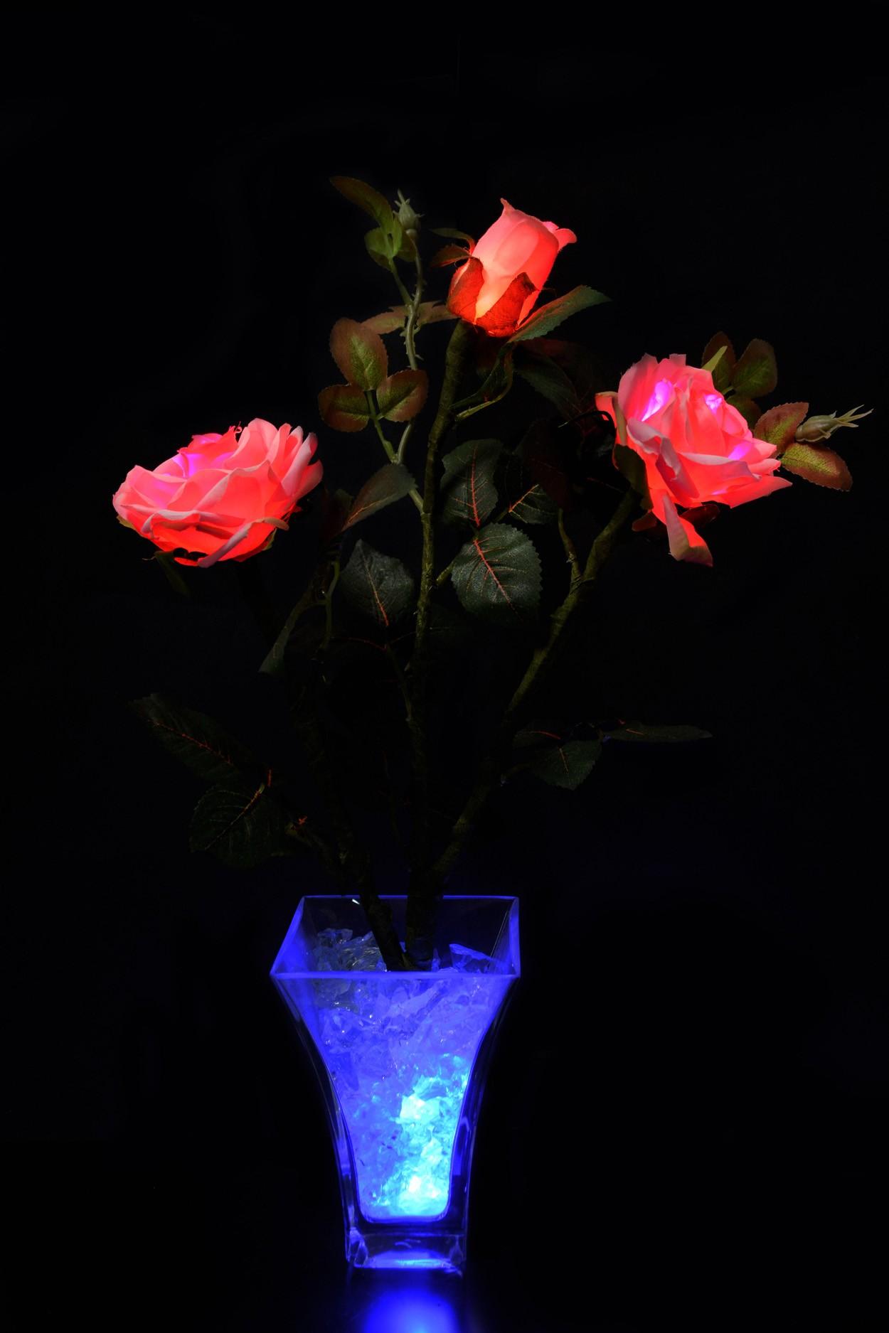 Светодиодные цветы Розы розовые (син) 3 цветка