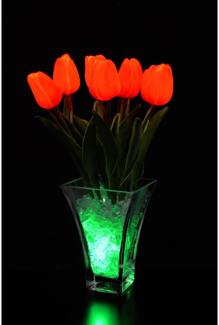 Ночник тюльпаны 9 шт Красные (зел)
