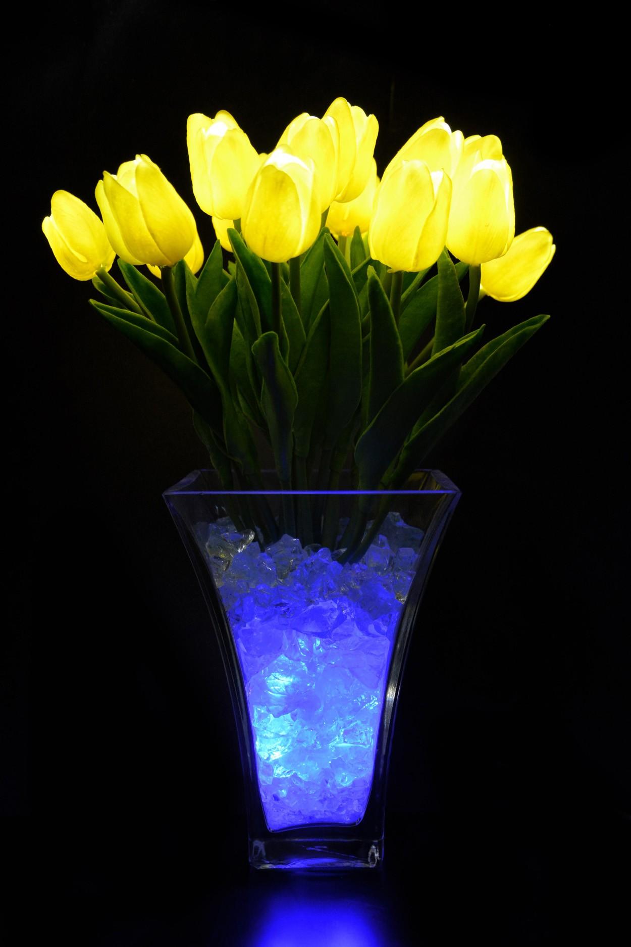 Светодиодные тюльпаны 21шт.  Жёлтые(син)