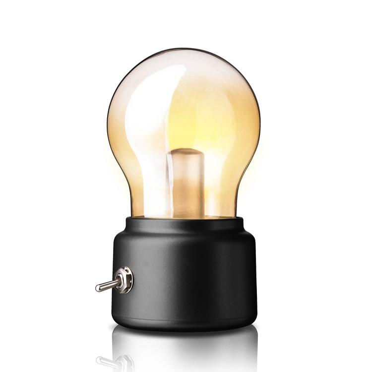 Светодиодный ночник Ретро лампочка Black