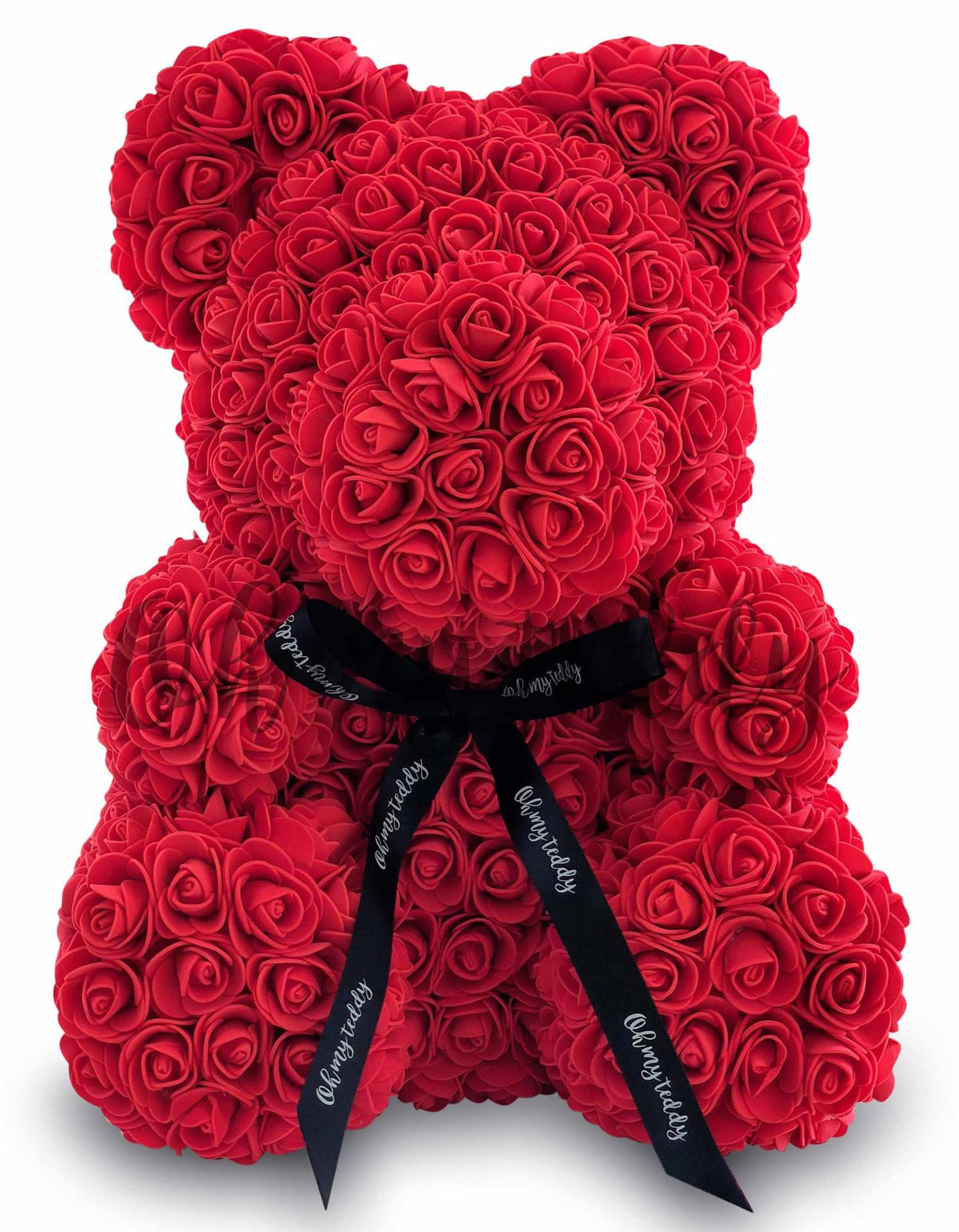 Мишка из красных роз 40 см