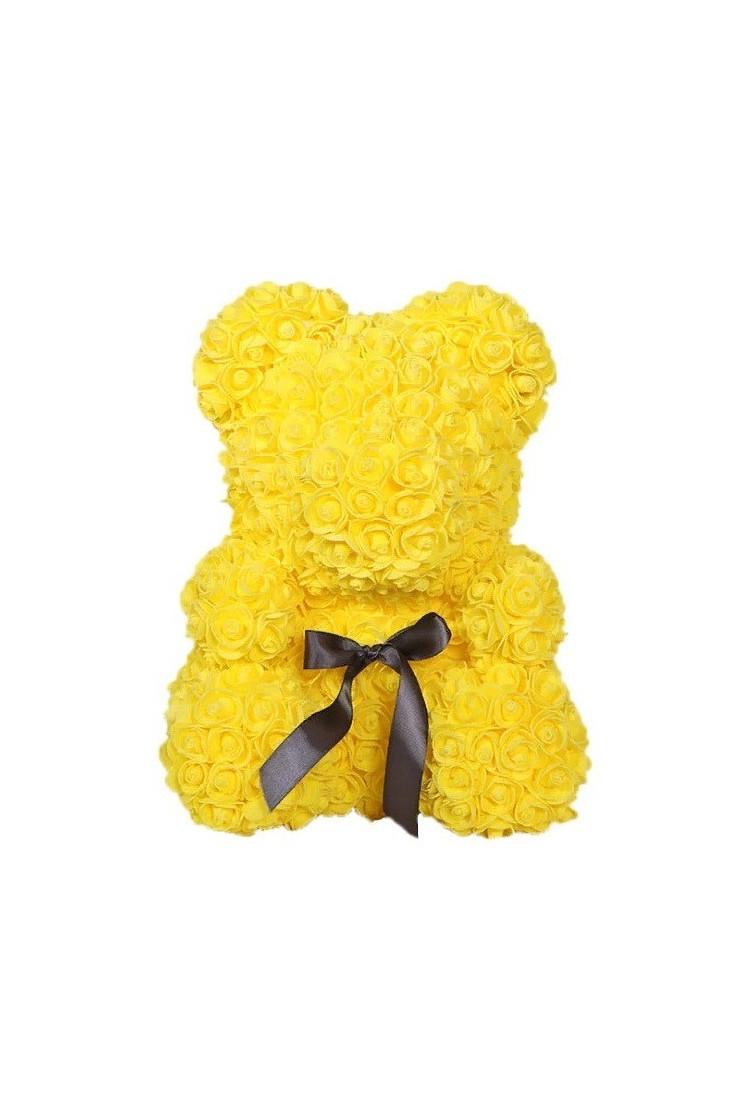 Мишка из желтых роз 40 см