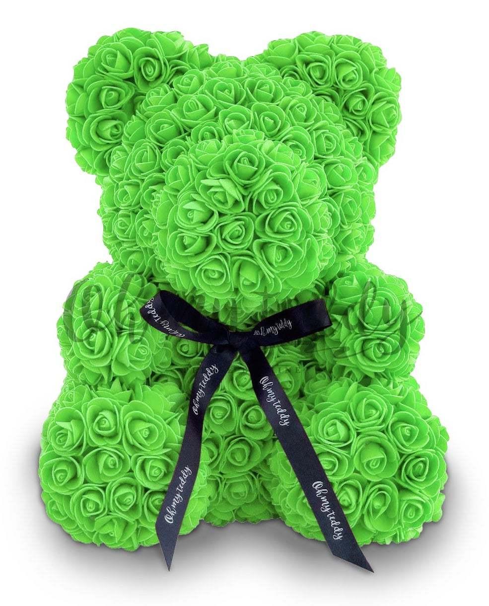 Мишка из зеленых роз 40 см