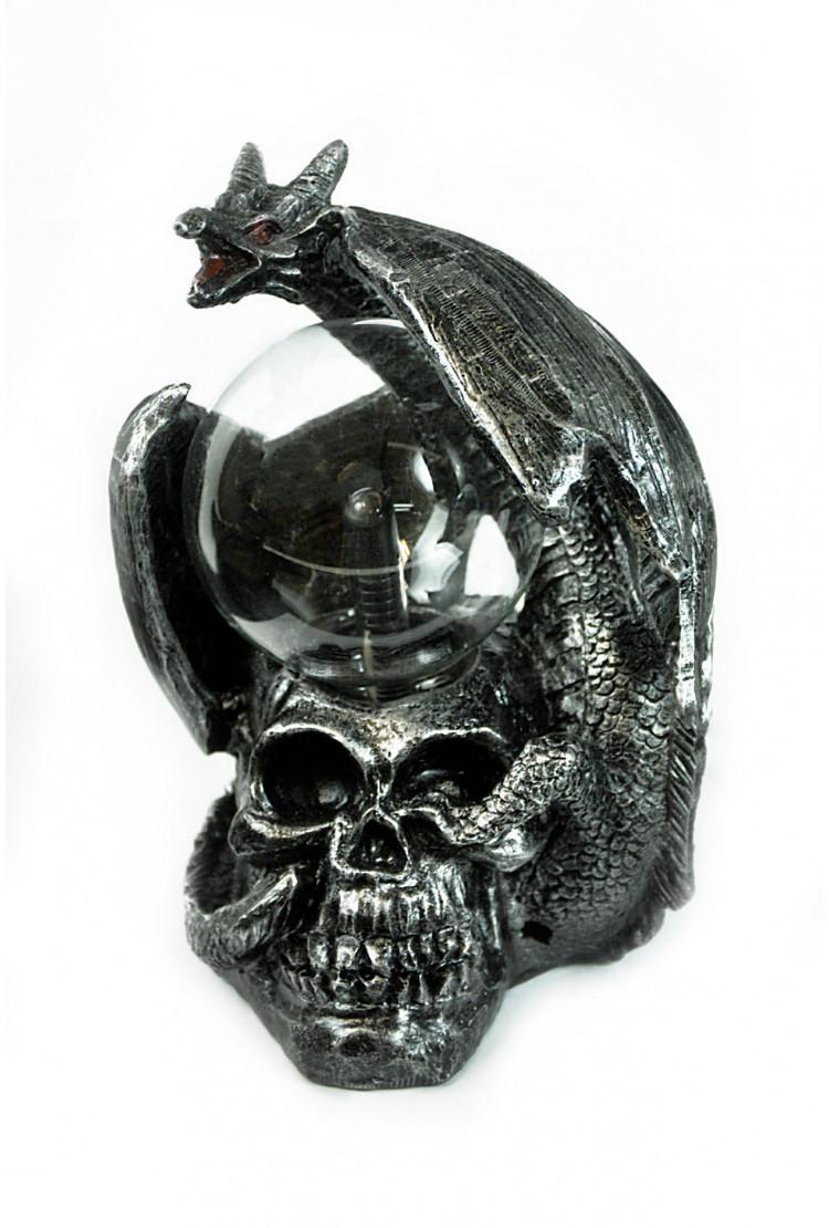 Электрический плазменный шар Тесла Дракон на черепе (D - 8см)