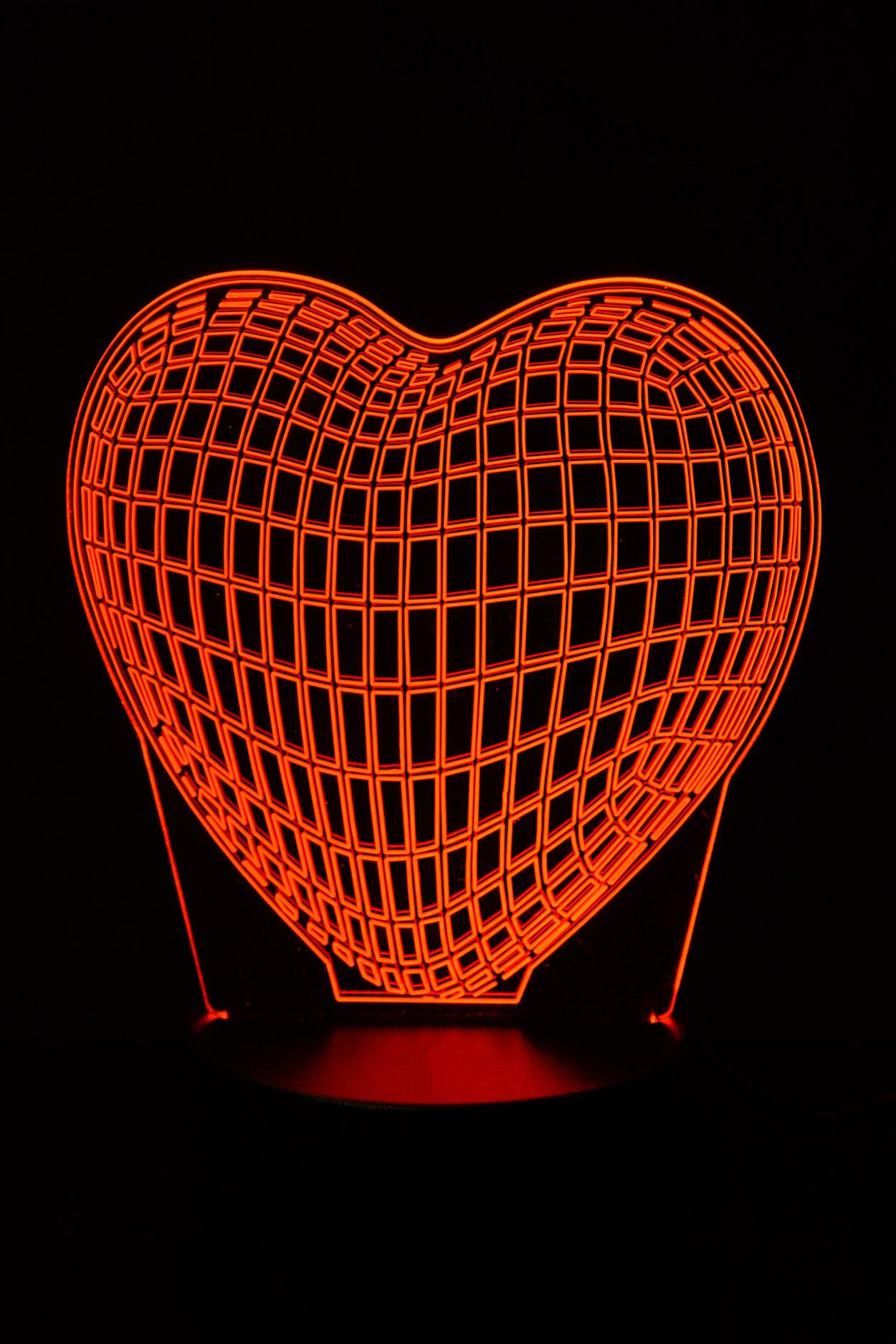 3D светодиодная лампа Сердце 3 цвета