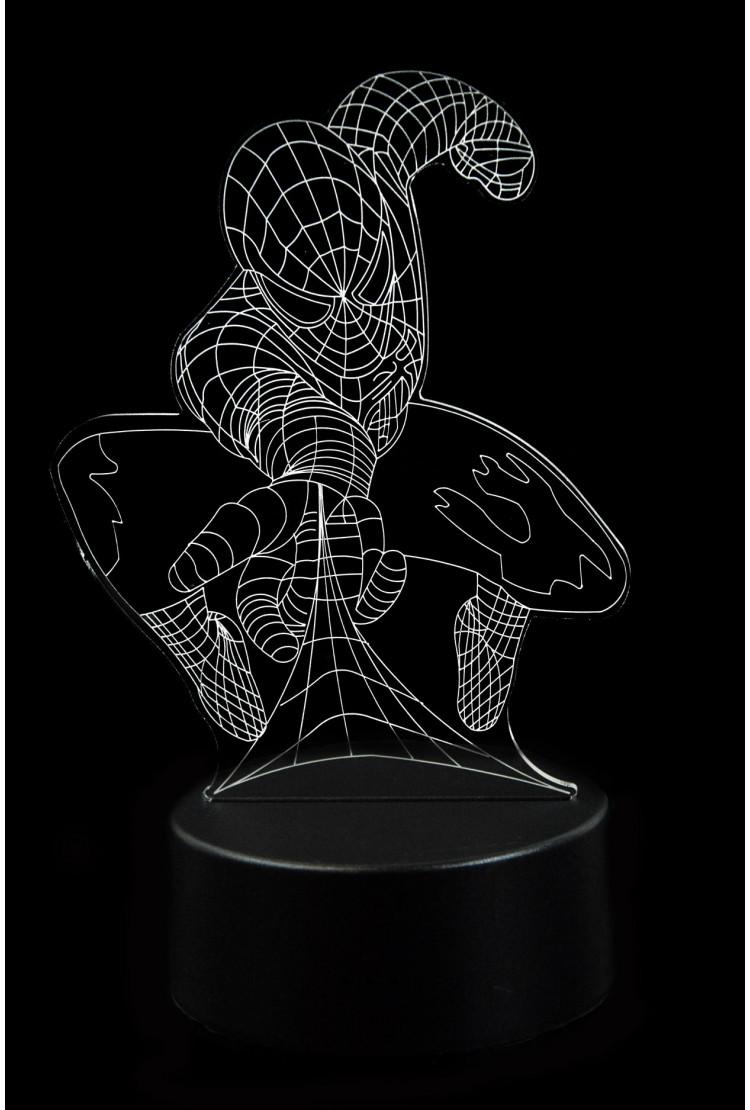 3D светодиодная лампа Человек Паук 3 цвета