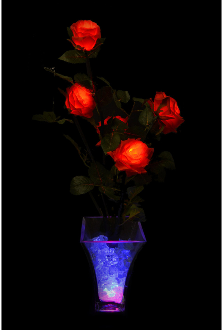 Светодиодные цветы Розы Красные (син) 5 цветка