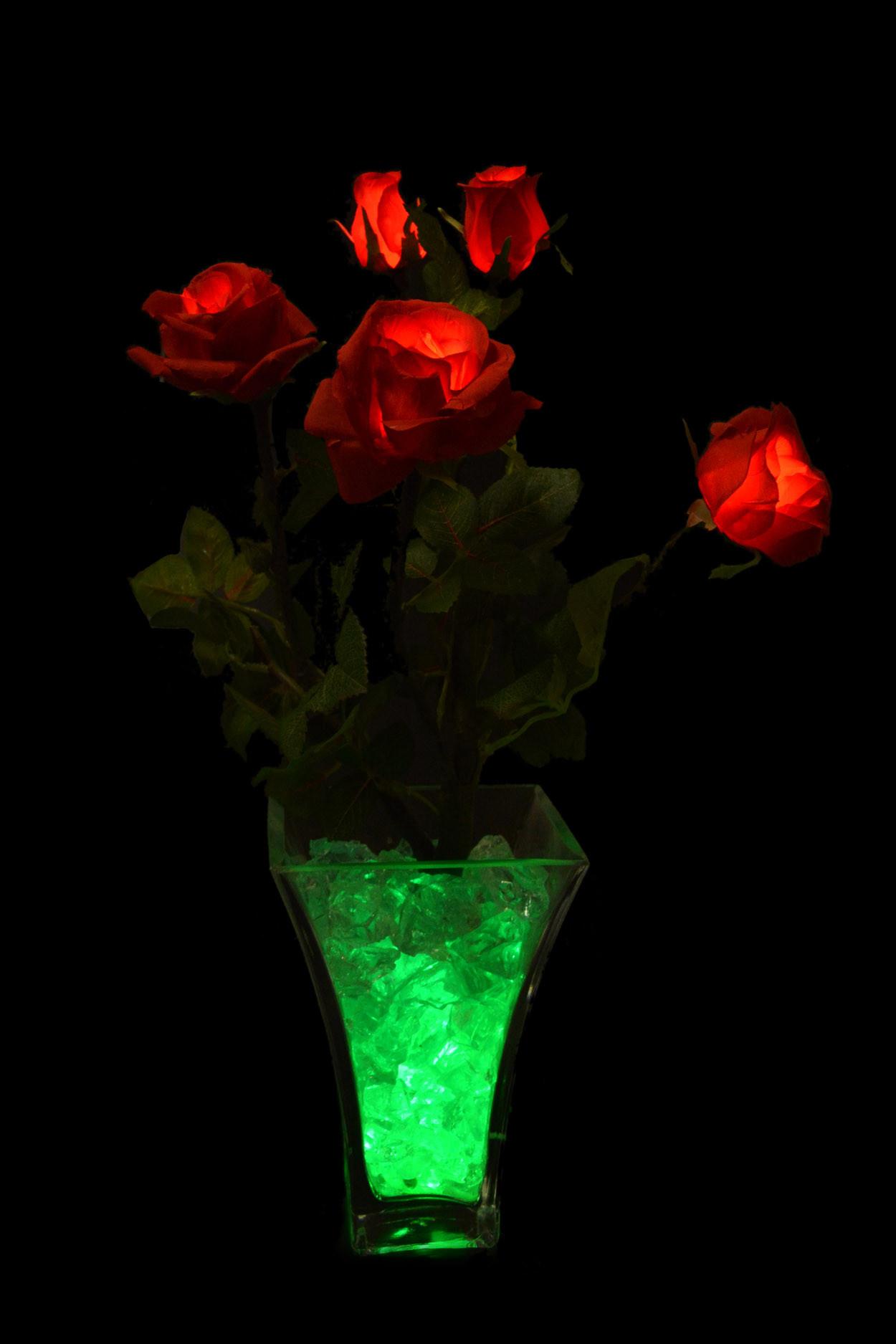 Светодиодные цветы Розы Красные (зел) 5 цветка