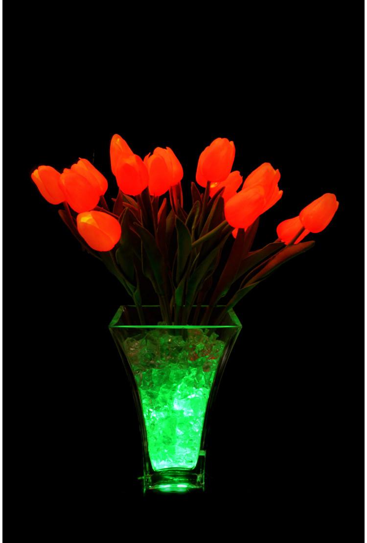 Светодиодные тюльпаны 21шт.  Оранжевые (зел)