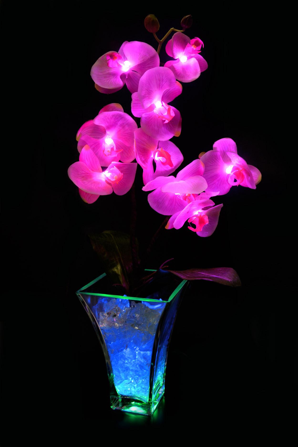 Светильник Орхидея Розовый(син-зел) 9 цветков