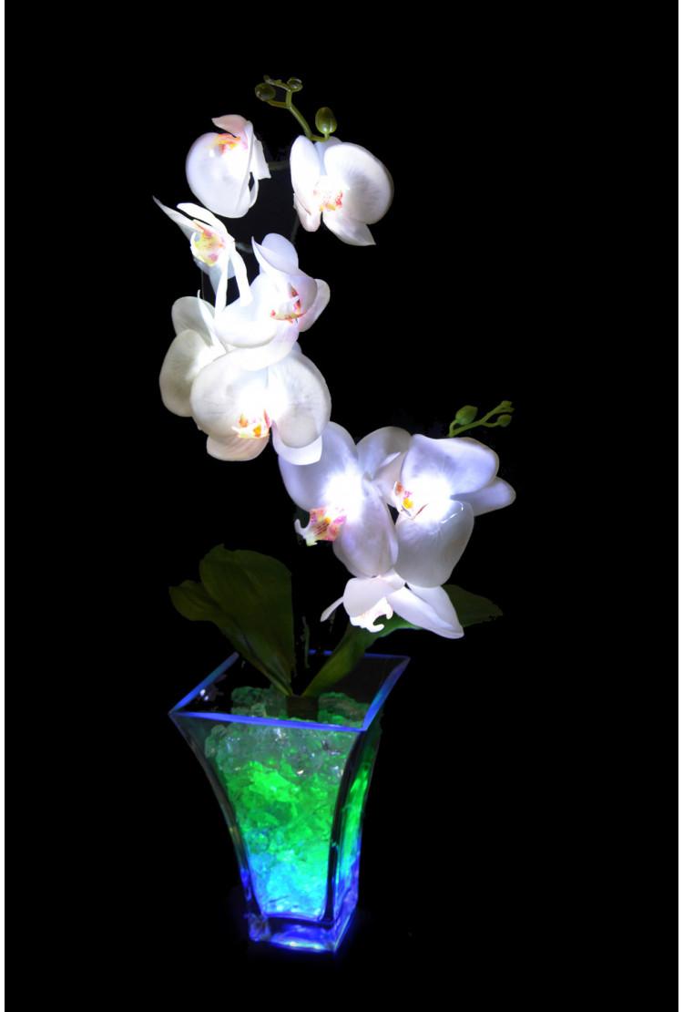 Светильник Орхидея белый(зел) 9 цветков