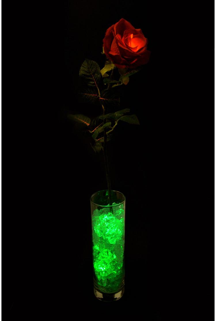 Светящаяся Роза Красная с зелёной подсветкой