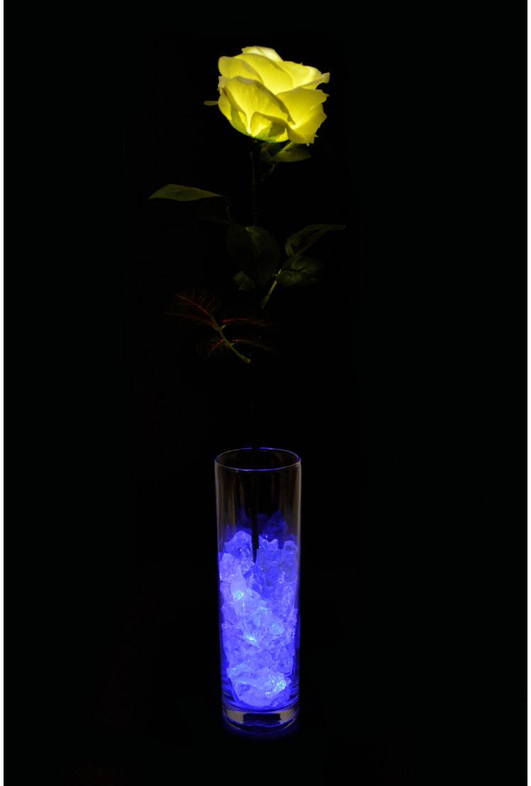 Светодиодный цветок Роза Белая с синей подсветкой