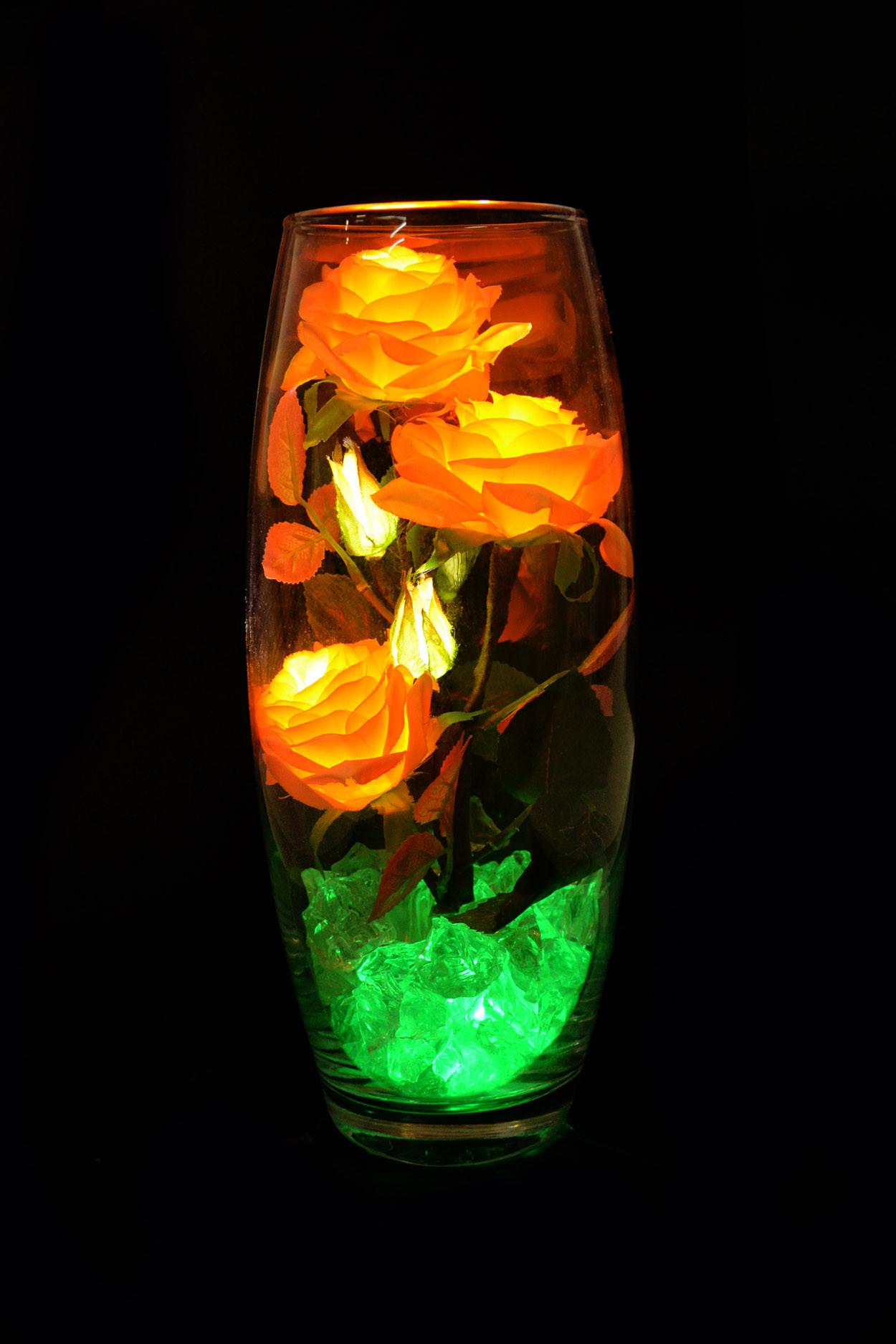 Светодиодные розы 5шт Желто-оранжевые (зел)