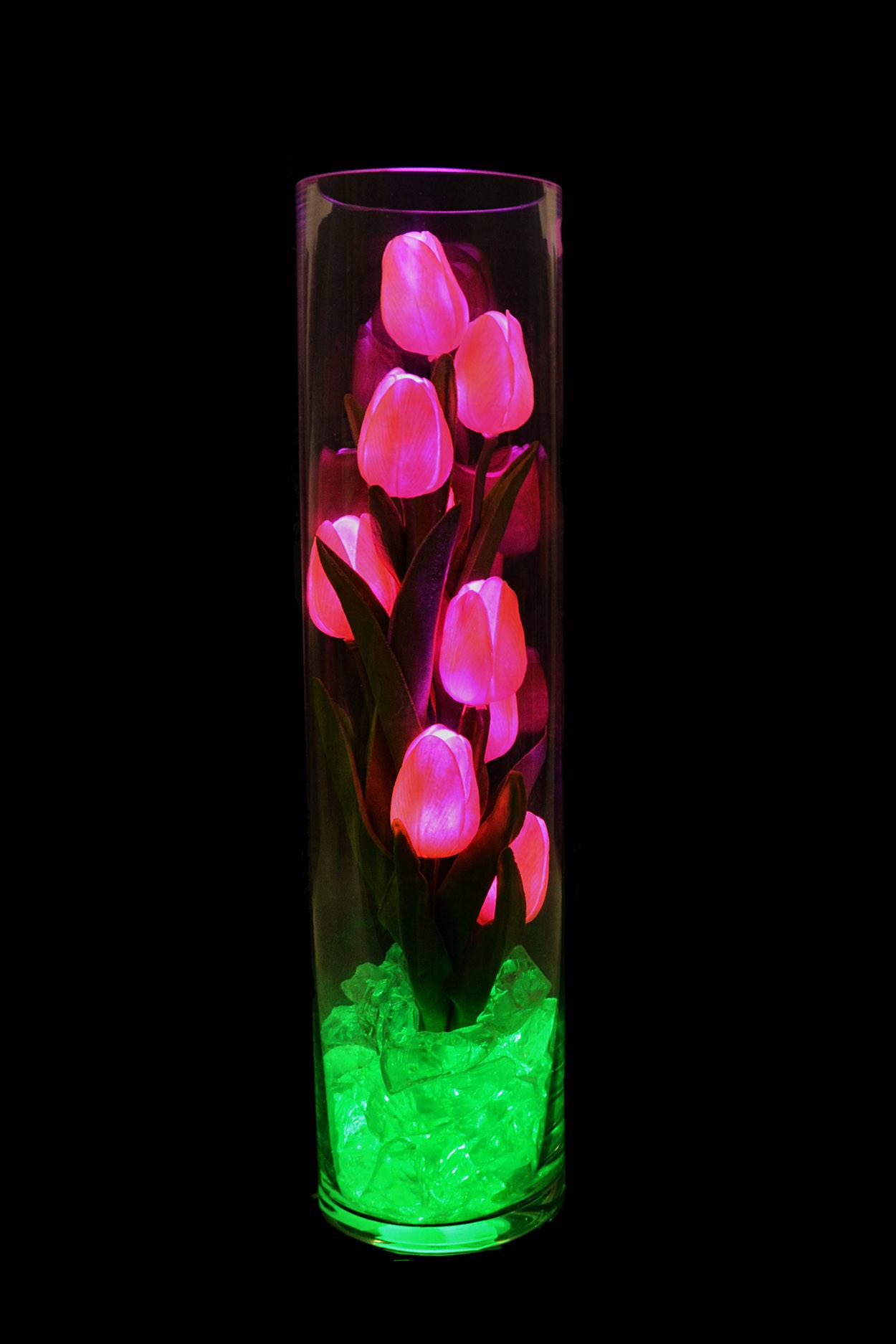 Ночник светящиеся тюльпаны 9шт Розовые (зел)