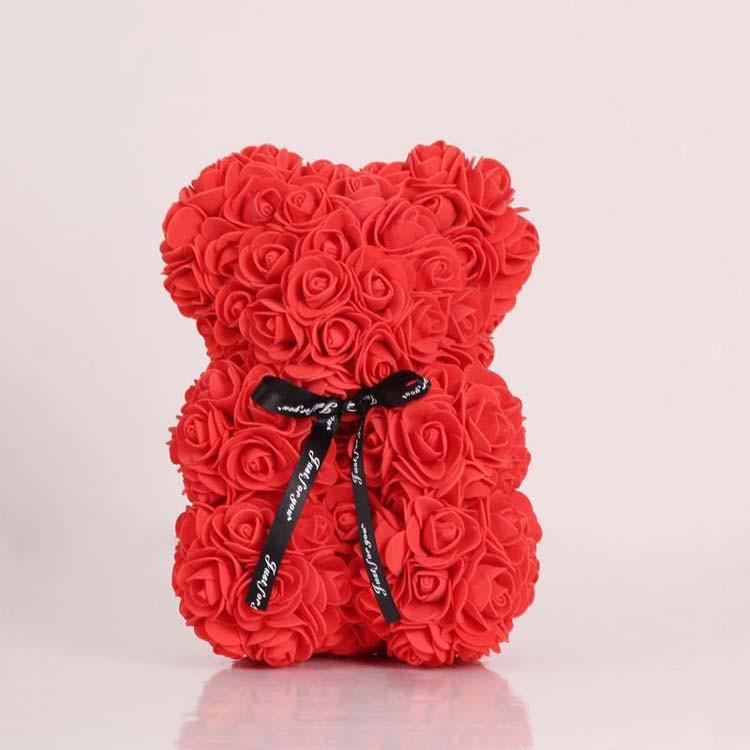 Красный Мишка из роз 20 см