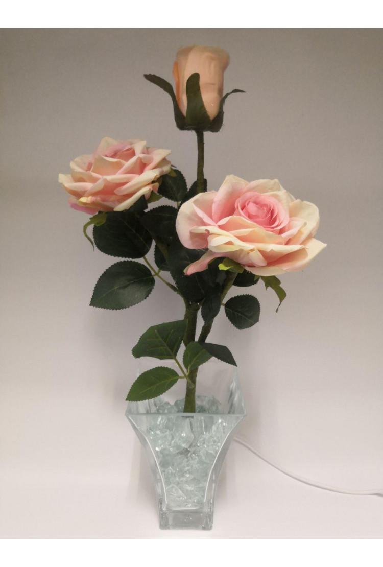 Светодиодные Розы  светло Розовые (син) 3 цветка