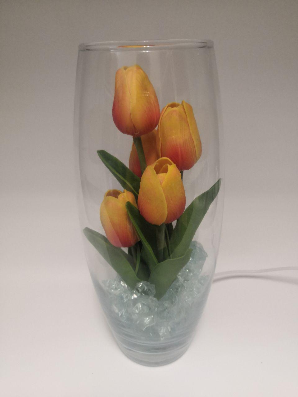 Светодиодные тюльпаны 5шт Оранжево-Красные(зел)