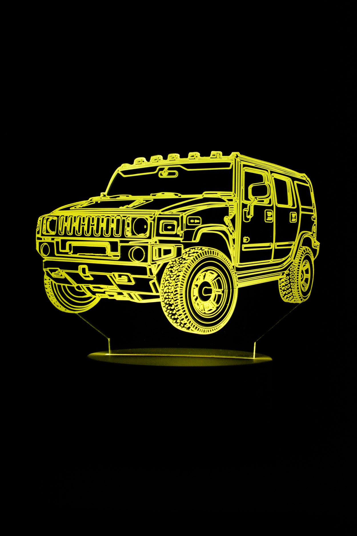 3D ночник автомобиль Hummer 7 цветов