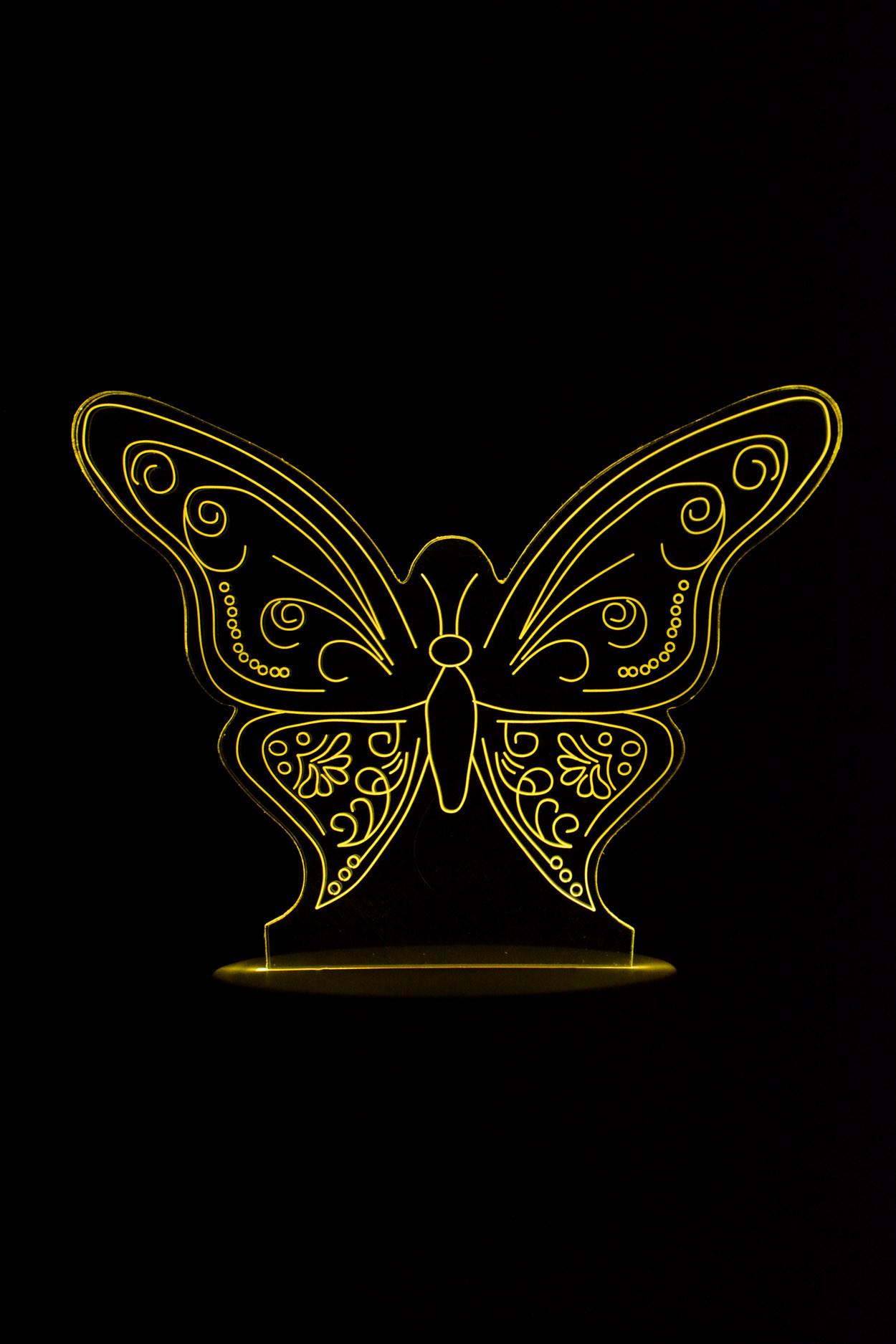 3D ночник Бабочка 7 цветов