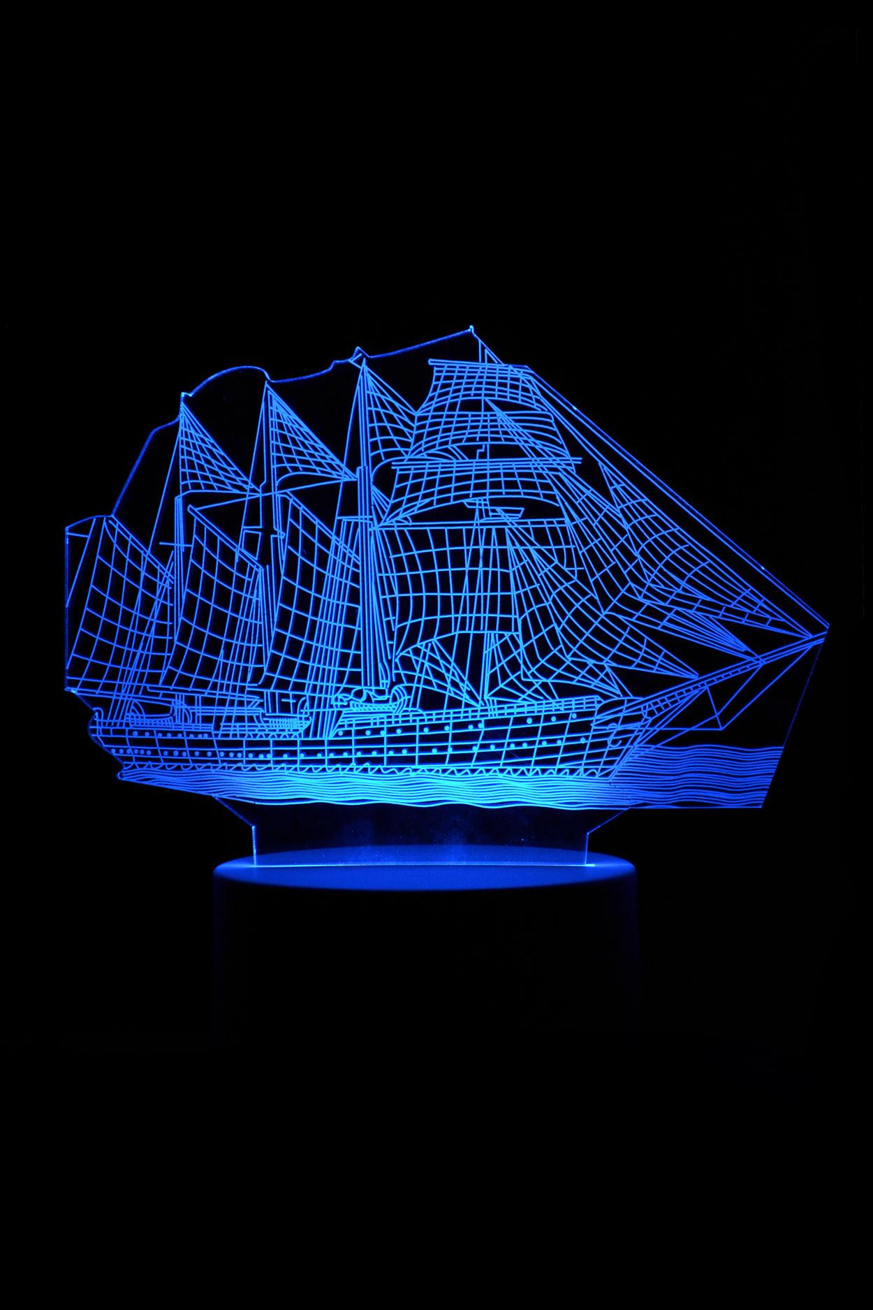 3D ночник корабль 7 цветов