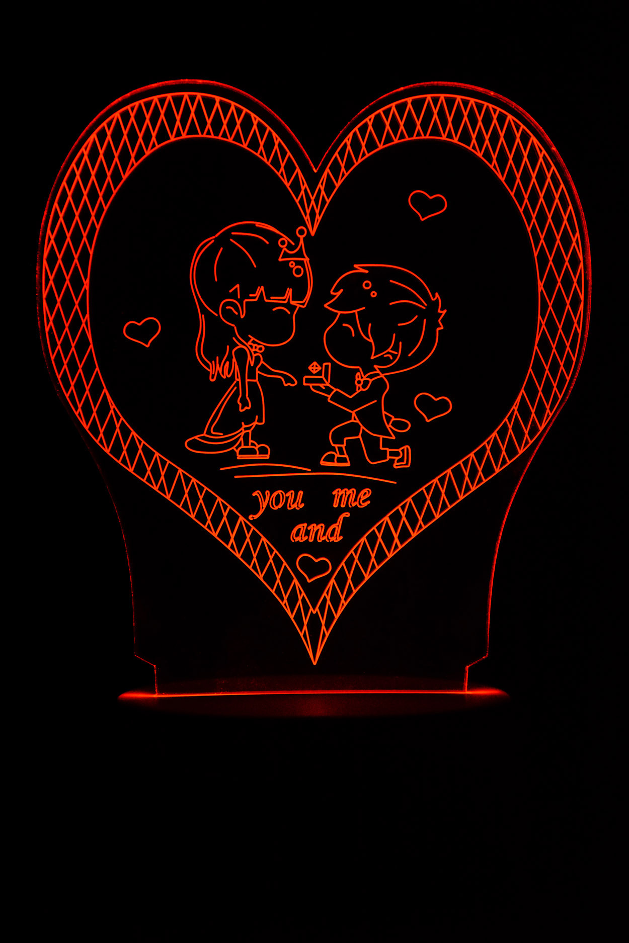 "3D ночник Сердце ""You and me"" 7 цветов"