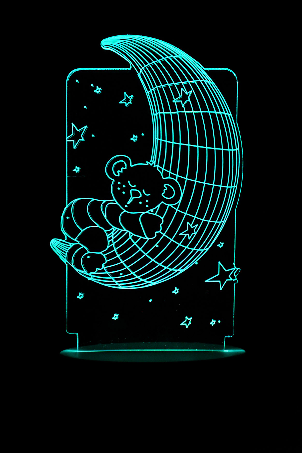 3D ночник Мишка на месяце 7 цветов
