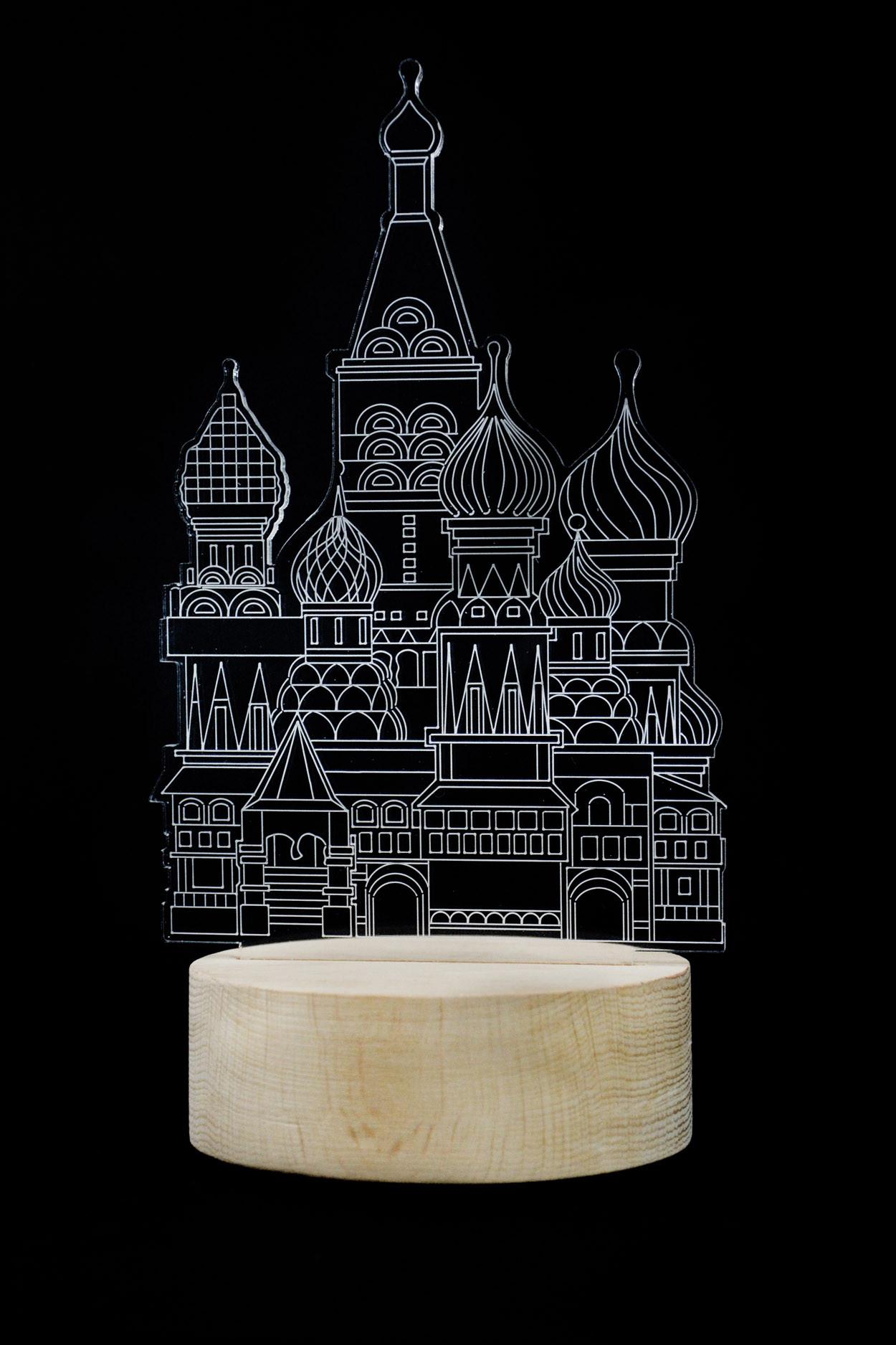 3D ночник Кремль 3 цвета