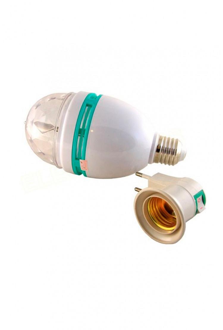 Светодиодная диско-лампа E27 LED с адаптером