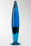Лава-лампа 41см Хром Синяя/Блёстки (Глиттер)