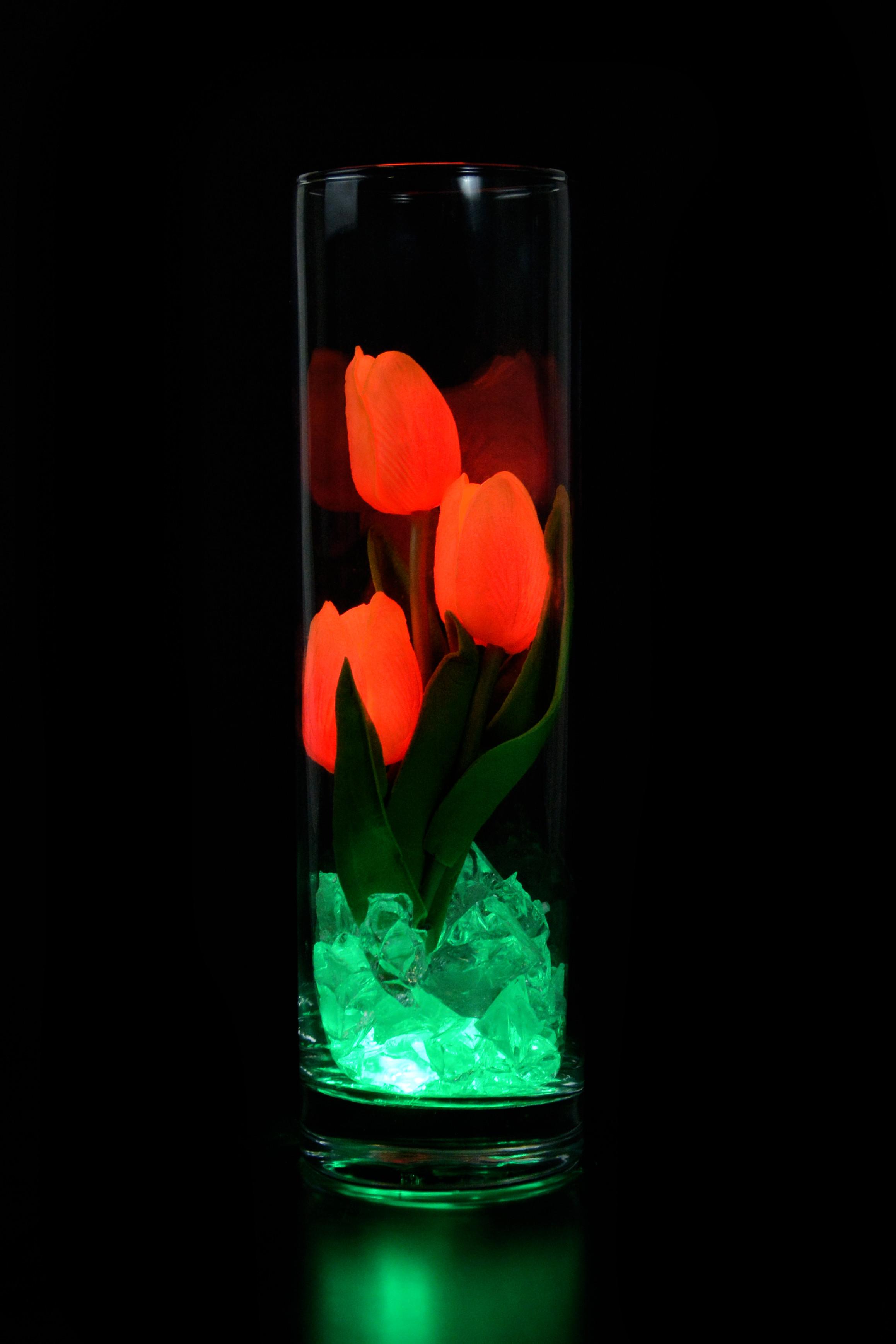 Светодиодные тюльпаны 3шт Оранжево-Красные(зел)