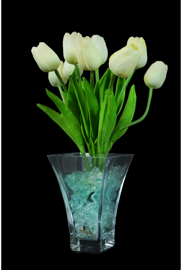 Ночник тюльпаны 9 шт Белые(син)
