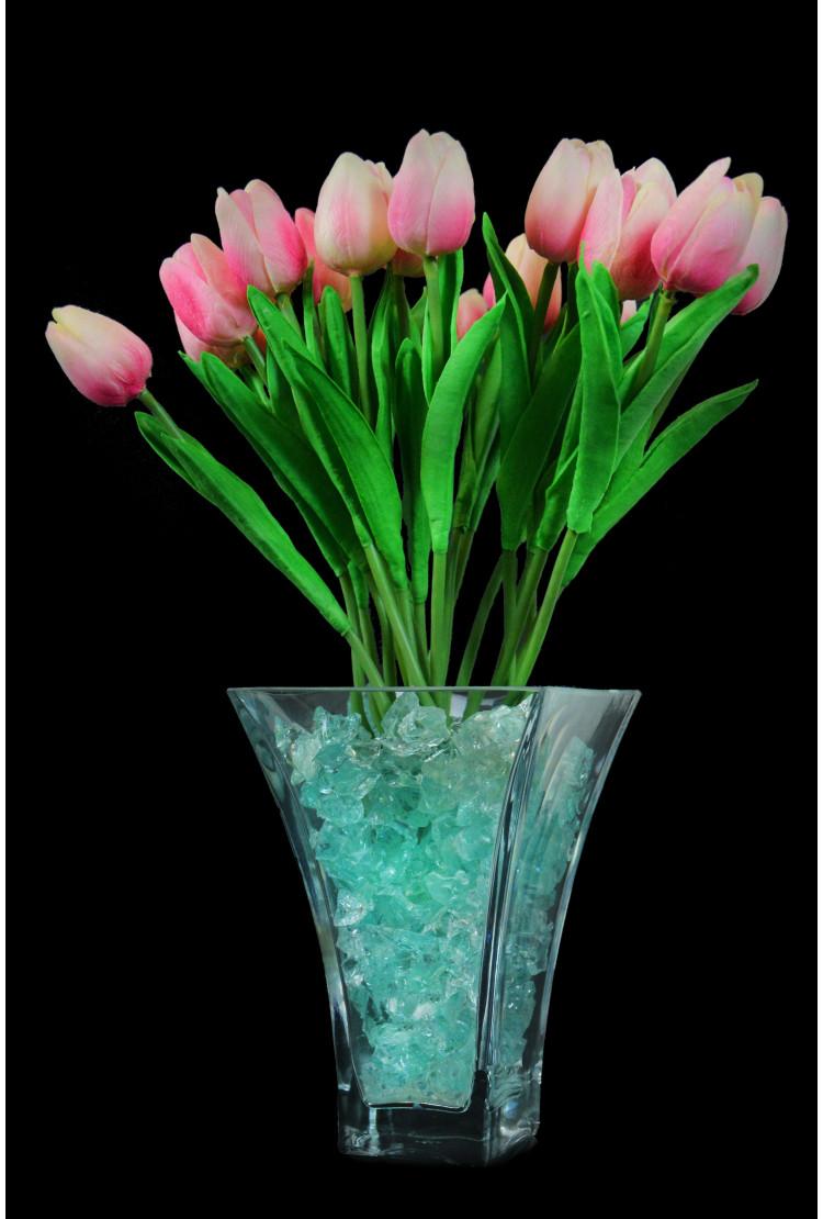 Светодиодный цветок тюльпаны 21шт  Розовые(зел)
