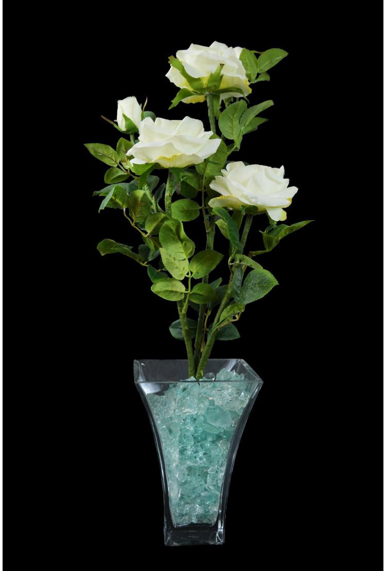 Светодиодные цветы Розы Белые (син) 5 цветка