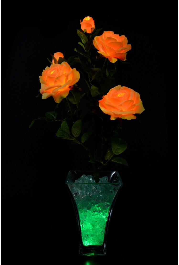 Светодиодные цветы Розы оранжевые (зел) 5 цветка