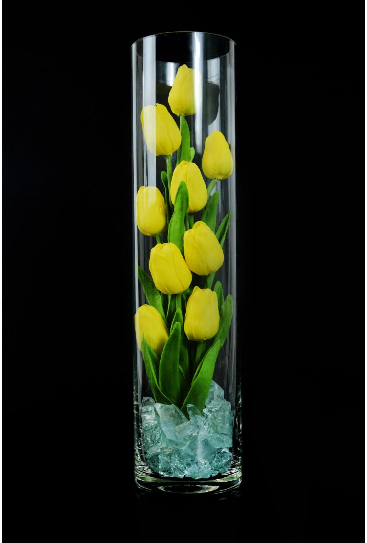 Светящиеся цветы тюльпаны 9шт Жёлтые(син)