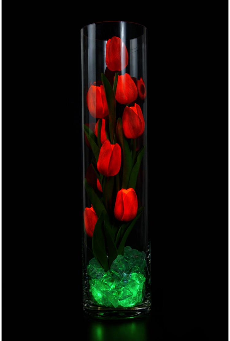 Ночник светящиеся тюльпаны 9шт Красные(син)