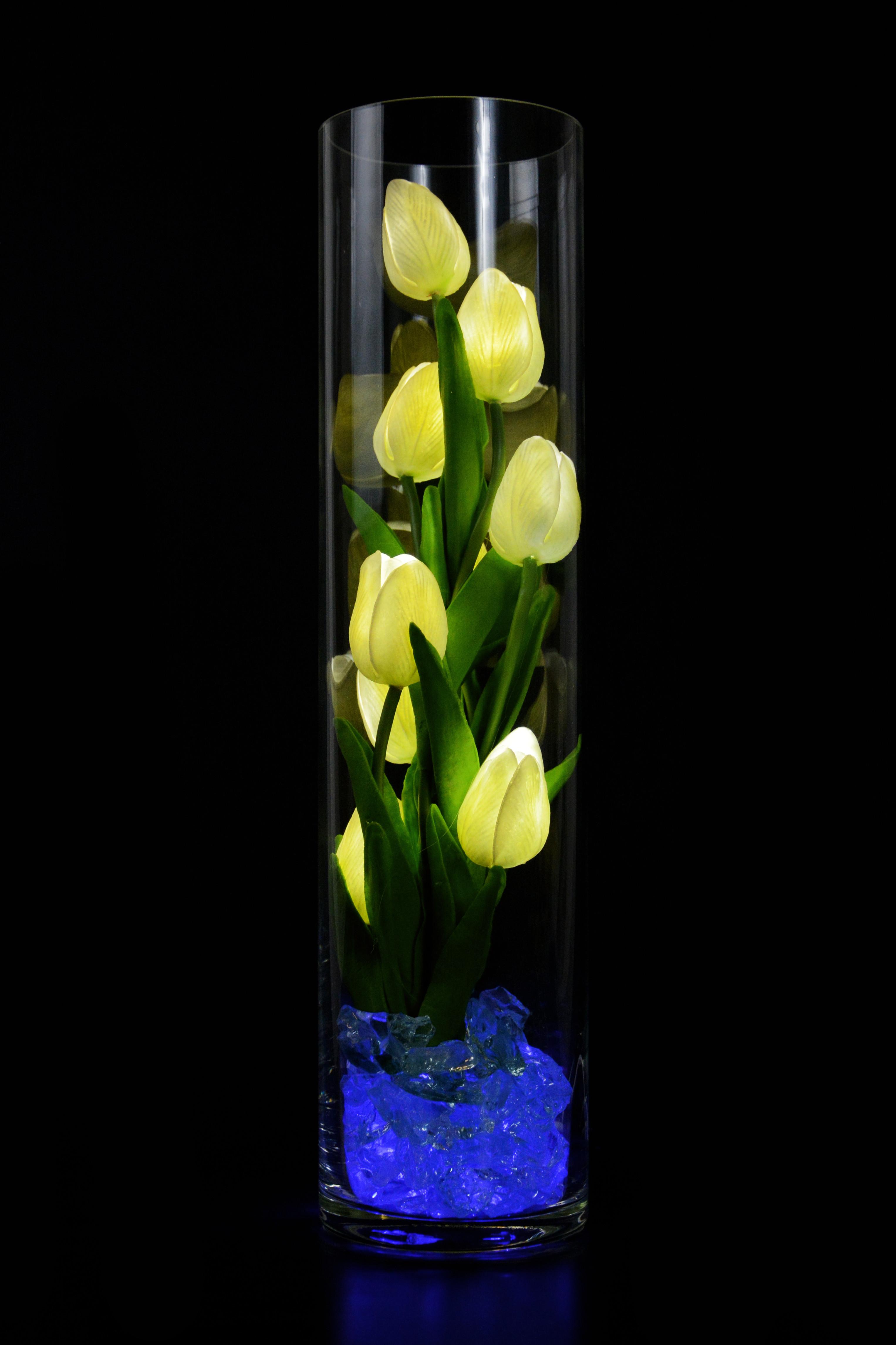 Светодиодный цветок тюльпаны 9шт Белые(син)