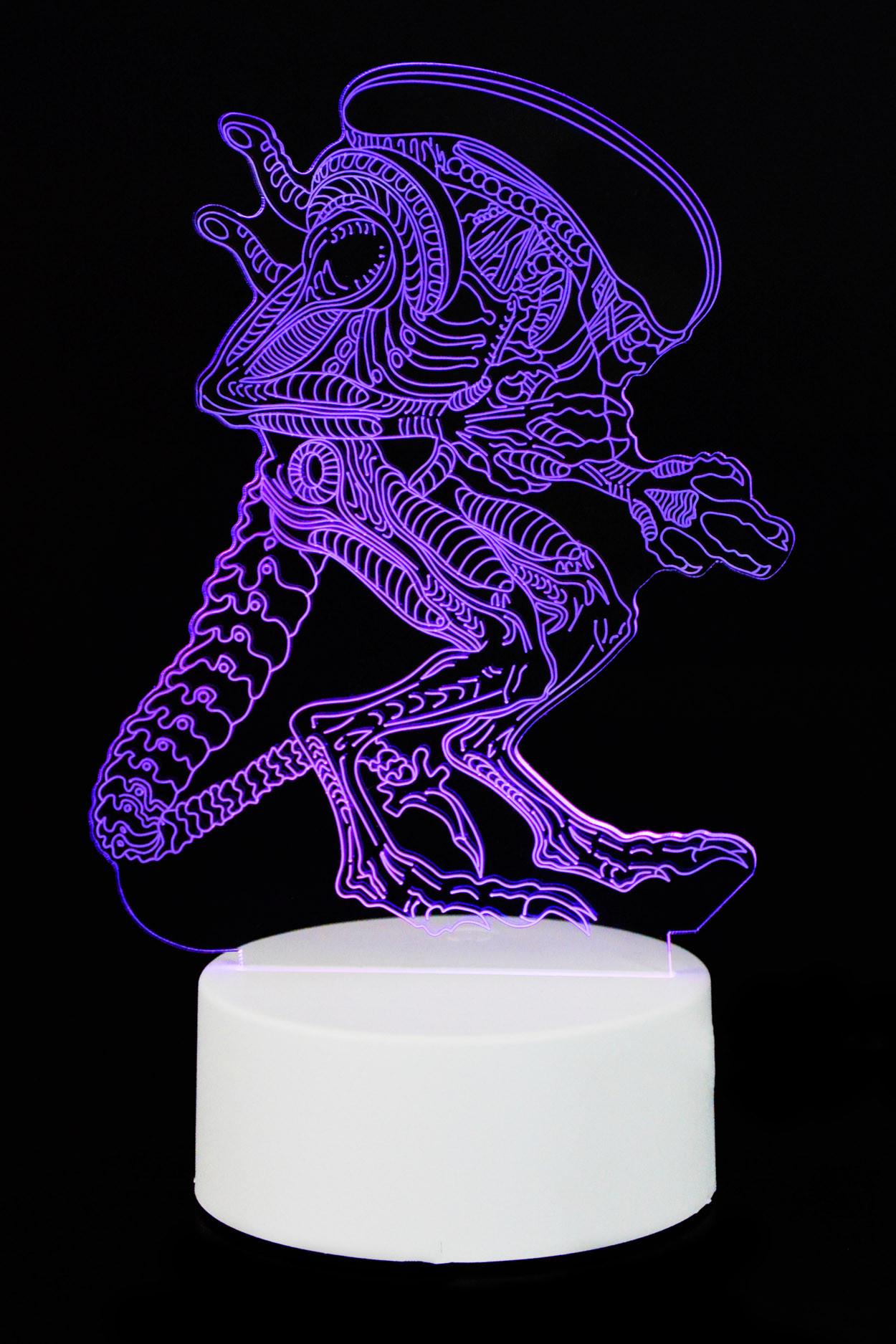 """3D светильник """"Чужой"""" 7 цветов"""