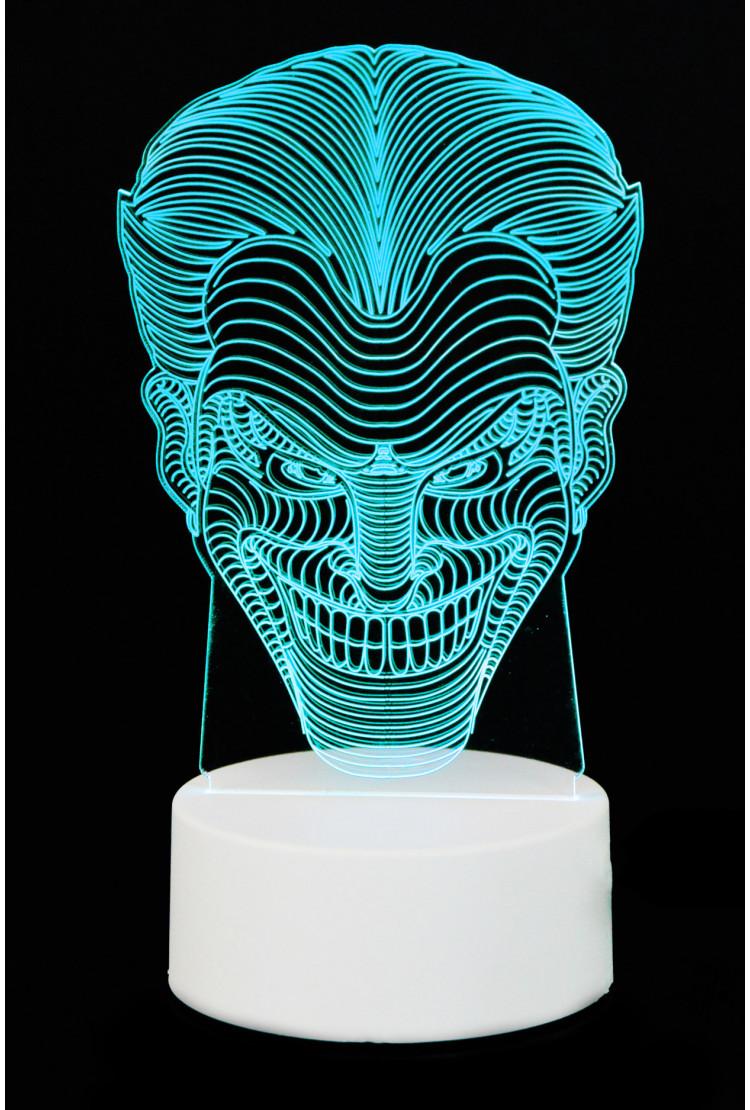 """3D светильник """"Джокер"""" 7 цветов"""