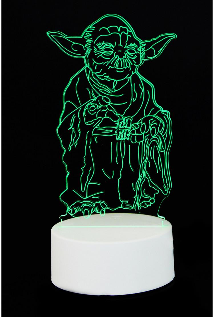 """3D светильник """"Йода"""" 7 цветов"""