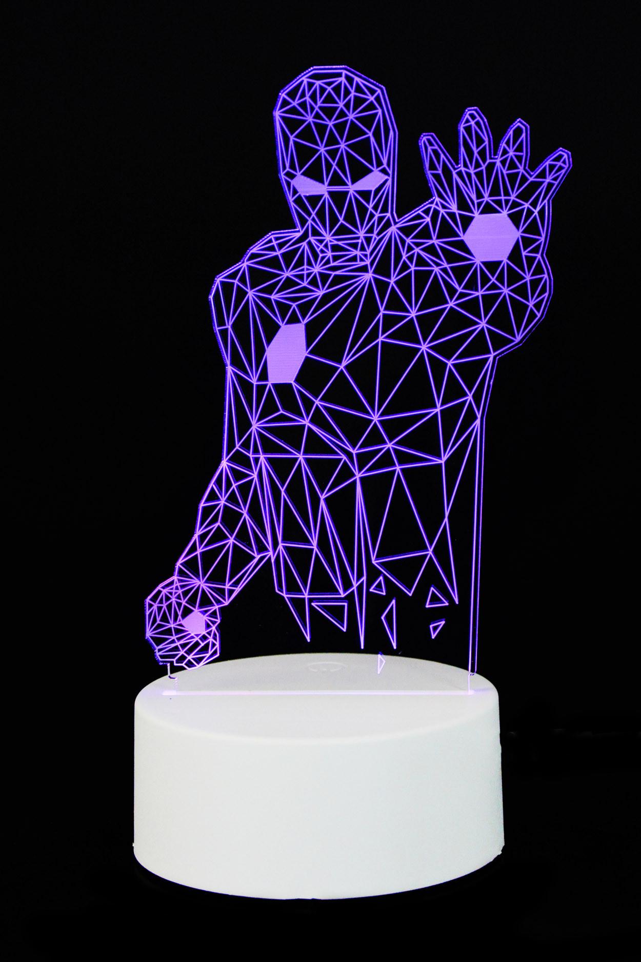 """3D светильник """"Железный человек"""" 7 цветов"""