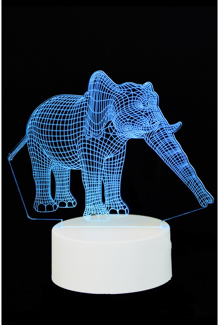 """3D светильник """"Слон"""" 7 цветов"""